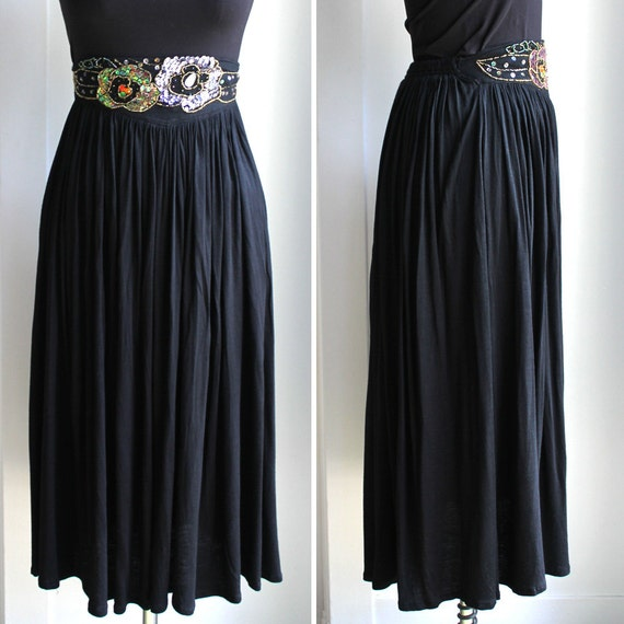 black embellished knit maxi skirt by western connection size
