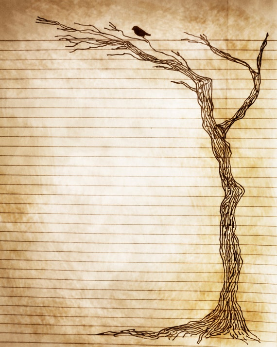 Printable Journal Page Pen And Ink Drawing Of Bird In Tree 8