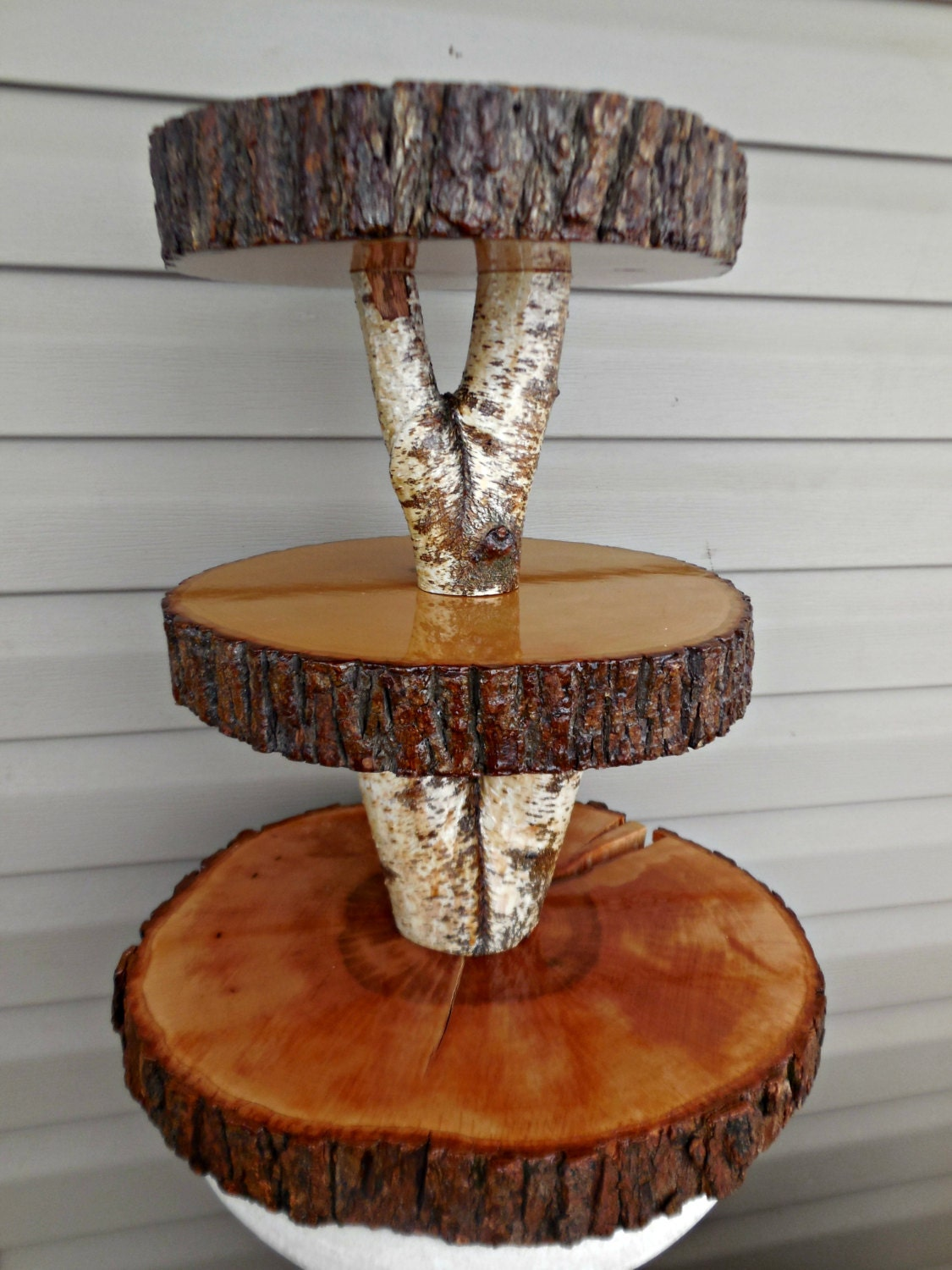 Rustic barn wedding wood cupcake stand by marys everflowers