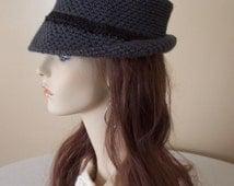 Adult Charcoal Grey Fedora with Dark Grey Heather Band - Teen, Woman, Man - Bowler, Cloche, Bucket Hat
