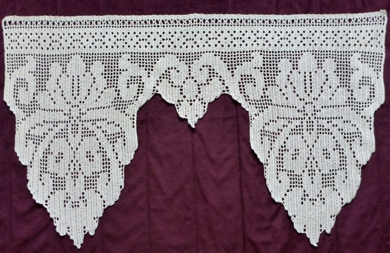 Crochet Flower Window Valance Pattern : big White cotton Crocheted Window curtain FLORAL pattern