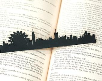London, England Bookmark - Hand-cut Silhouette, Handmade Bookmark, Cut Paper Bookmark, London Skyline
