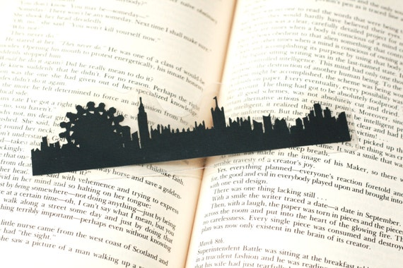 London, England Bookmark - Hand-cut Silhouette, Handmade Bookmark, Cut Paper Bookmark, London Skyline