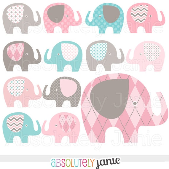 Pink Grey Teal Blue Baby Elephant Digital Clipart Girly Clip