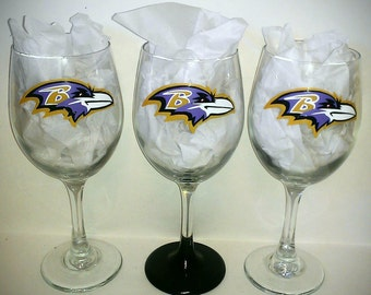Baltimore Ravens Painted Glassware