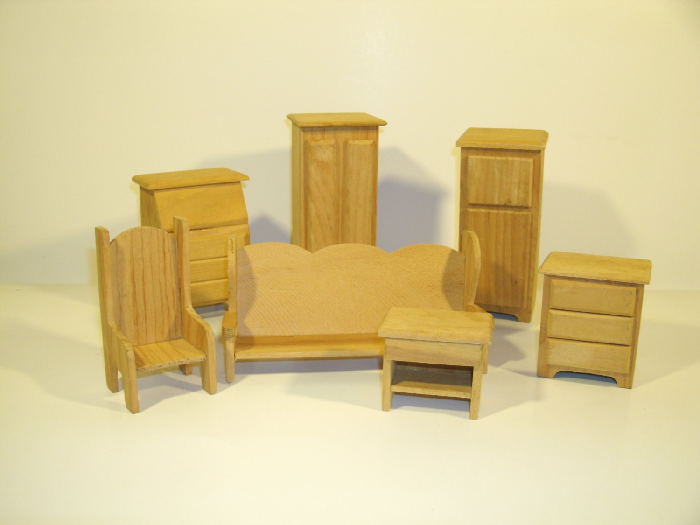 Seven Piece Handmade Wood Dollhouse Furniture Wooden Doll
