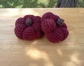 Crochet Stuffed Pumpkins - Fall Pumpkins - Thanksgiving Pumpkins Set of 2 - Fall Decor - Autumn Decor - Chestnut Heather - READY TO SHIP