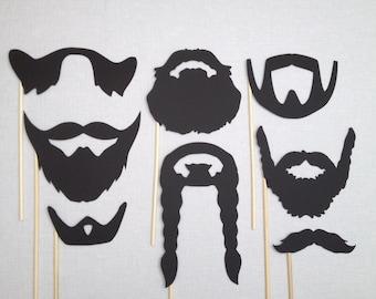 8 Beard Photo Booth Props - Movember - Wedding Photo Booth Props - Birthday Photobooth - Beards on a Stick -