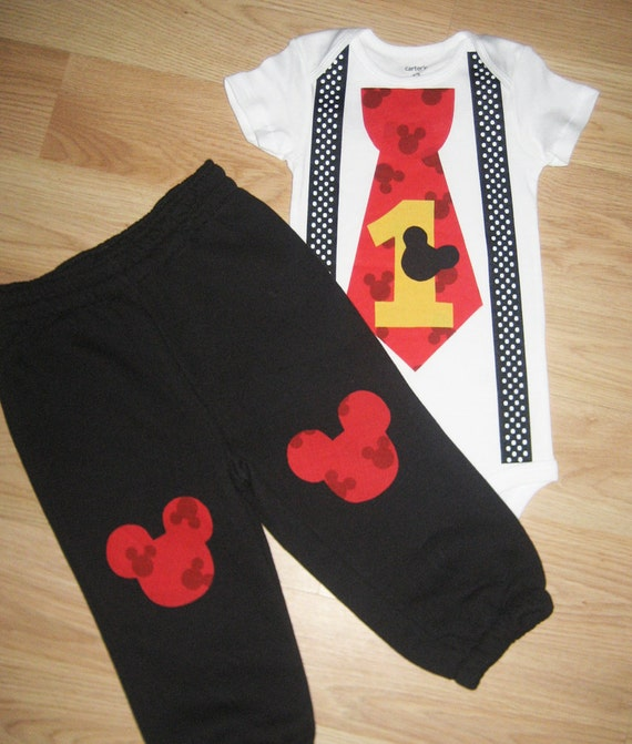 Mickey Mouse 1st Birthday Smash Cake: Little Man Bodysuit With Suspenders Red And White By