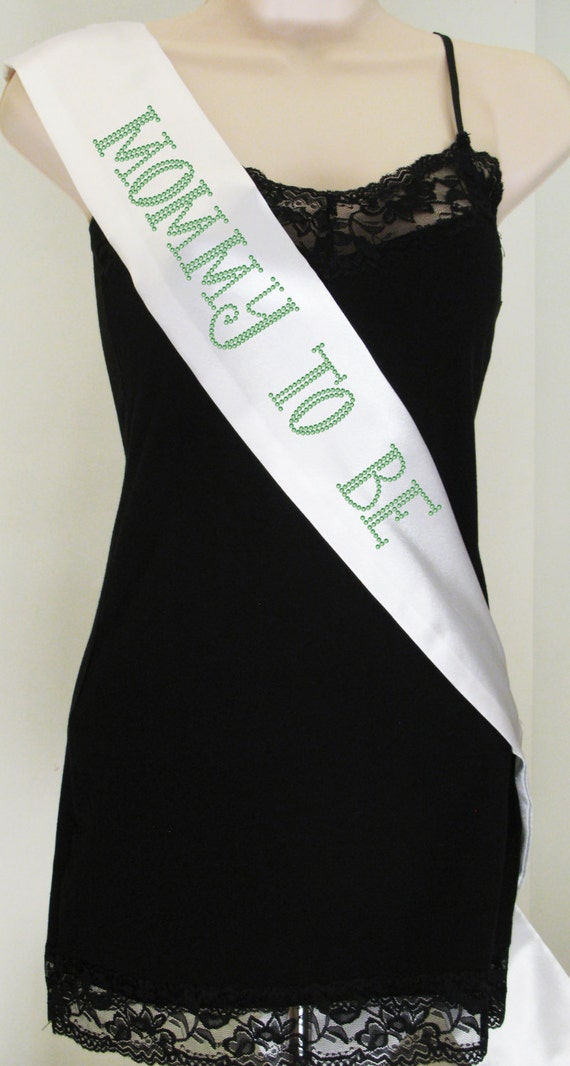 mommy to be rhinestone baby shower sash white with by rascoprints