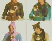 PET and HUMAN ACCESSORIES Sewing Pattern - 3 Sizes, Simplicity 4780 - Dog Coat /Hat, Misses' Hat, Scarf and Mittens - Unused