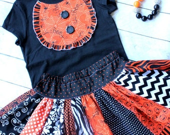 Halloween skirt  ONLY halloween chevron polka dot zebra damask pumpkin skirt chevron skirt chevron and polka dot  skirt orange and black