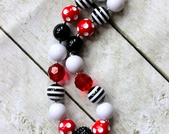 minnie mouse chunky necklace mickey mouse bubblegum bead necklace fall necklace toddler red white black necklace chunky bead necklace