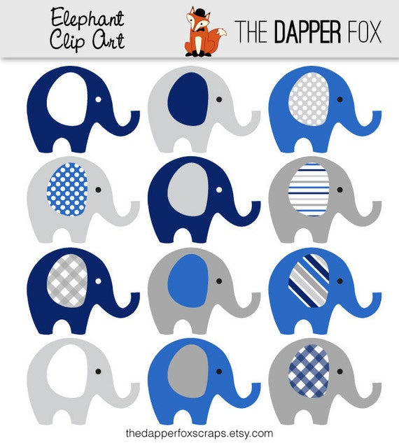 Navy Blue and Grey Elephant Clip Art INSTANT DOWNLOAD boy