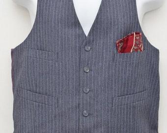 "80's Vintage ""GINO CAPPELI"" Pinstripe Vest Sz: LARGE (Men's Exclusive)"