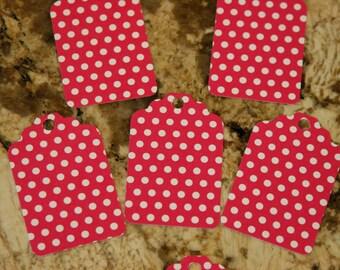 Hot Pink w/ White Polka Dot Tags, set of 50
