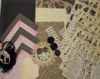 1900s fashions themed card kit 6 embellishments hats