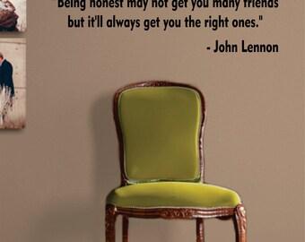 Being Honest John Lennon The Beatles Decal Sticker Wall Vinyl Art Quote Music