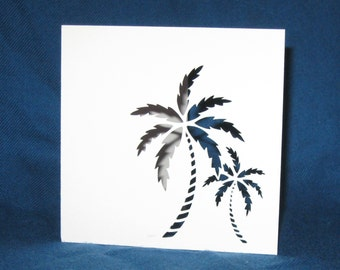 Hand Cut Palm Trees Card