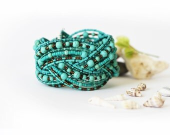 Beadwork  plait bracelet with  Turquoise stone  beads and Japanese beads.Turquoise, green, mettalic brown, copper  .  OOAK