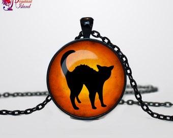 Halloween black cat necklace Halloween cat pendant  Halloween jewelry Trick or Treat Halloween Pendant Halloween  jewelry black orange