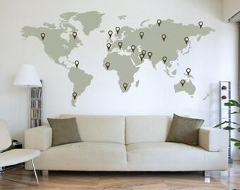150cm world map decal wall sticker stencil bedroom globe. Black Bedroom Furniture Sets. Home Design Ideas