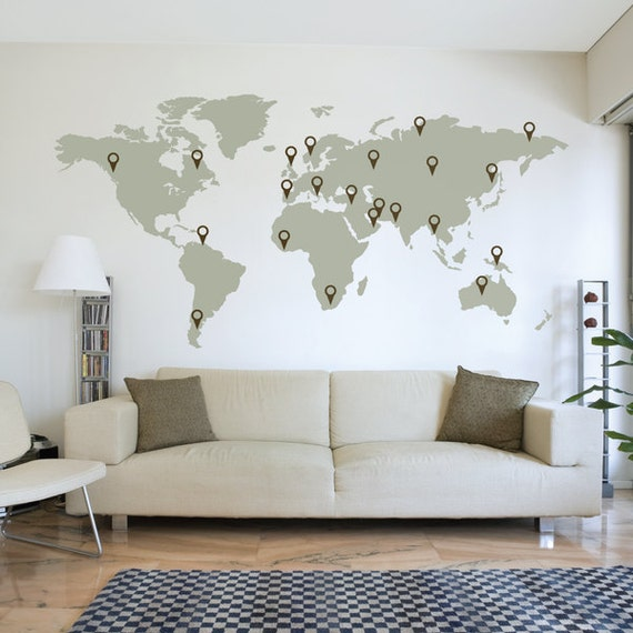large world map wall decal sticker 7ft x vinyl wall. Black Bedroom Furniture Sets. Home Design Ideas