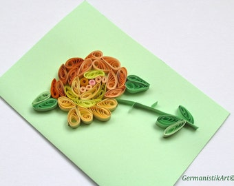 Rose Quilling Card for Birthday, Blank Birthday Card, Mother's Day Card, Flower Greeting card