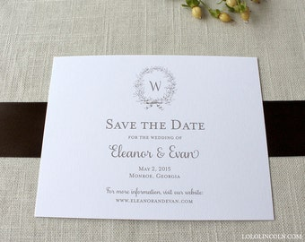 Classic Wreath Monogram Save the Date Deposit