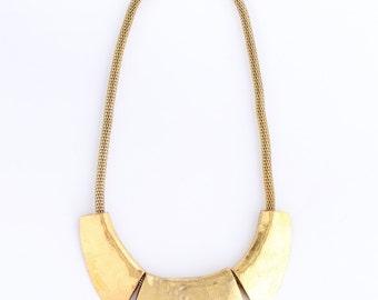 Chunky gold bib necklace, chunky gold statement necklace