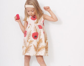 Poppy toddler DRESS pattern - easy children sewing patterns - 3 to 8 years