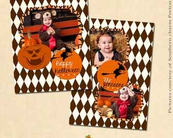 INSTANT DOWNLOAD 5x7 Halloween Card Template - CA167