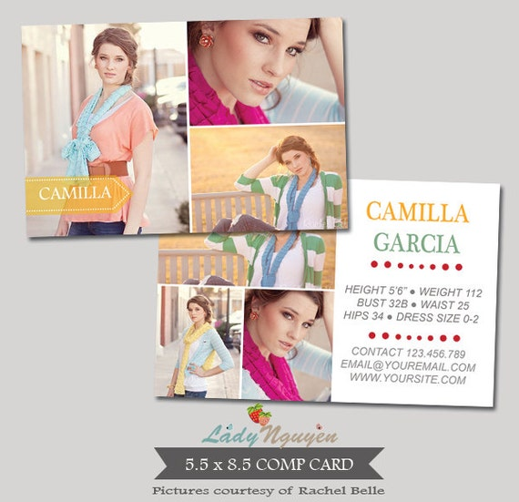Instant Download Modeling Comp Card Photoshop Templates