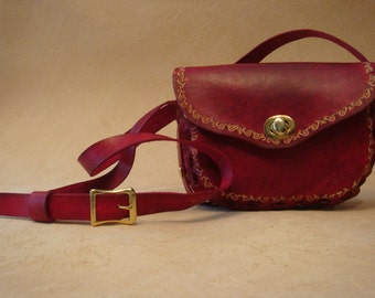 Lyn Tooled Red Leather Crossbody Bag - Shoulder Purse - Scroll Pattern