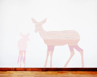 Deer Wall Decals - Deer Fabric Wall Decals Pink