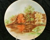 Antique Artist Signed Hand Painted Porcelain Austria Austrian Plate 1900s Woodland Orange Autumn Fall Trees Leaves Riverbank Reflection