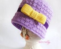 Purple Crochet girl Hat with yellow bow, baby Cap, Beanie