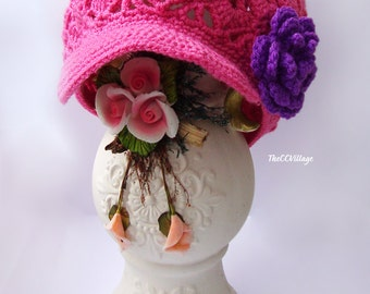 Pink fuchsia Crochet Baby Hat, Crochet Girl Hat with purple or grey flower handmade, crochet Cap, Crochet Beanie