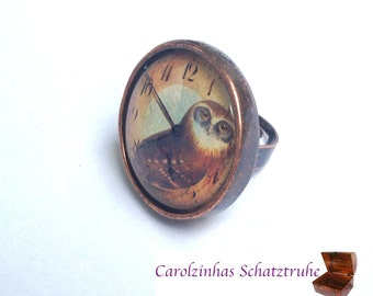 Guardian of Time - owl ring