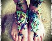 Crochet Tie Dye Barefoot Sandals - Bohemian barefoot sandals -Nude shoes -Hippie Foot Jewelry -Beach Wedding Shoes