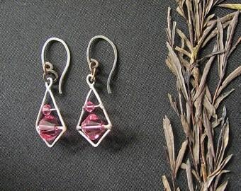 Pink Swarovski crystal earrings. Geometric earrings. Dangle earrings.  Oxizided Copper earrings. Brazed earrings