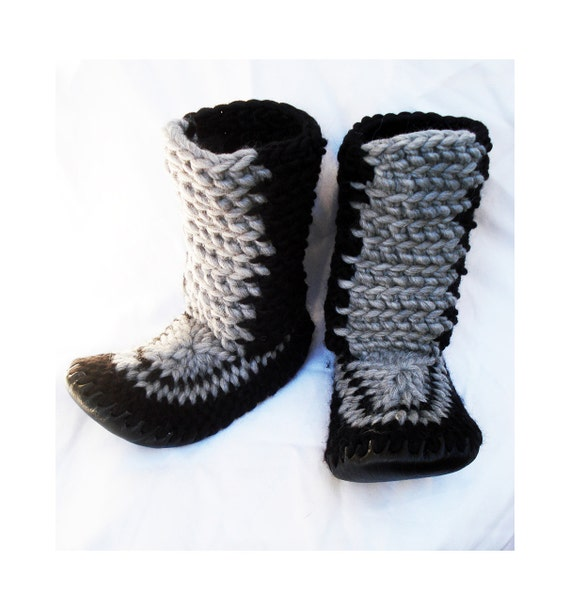 Knitting Patterns For Slippers With Leather Soles : CROCHETED SLIPPER BOOTS with Leather Soles by by MuffleUpSlippers