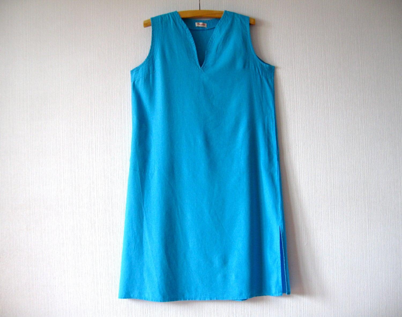 Turquoise Blue Linen Dress Plus Size Summer Sleeveless Large