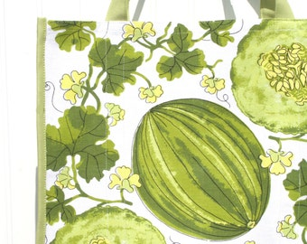 Melon Farmers Market Bag - Shopping Bag - Vintage Vera Neumann Napkins - Honeydew - Watermelon -