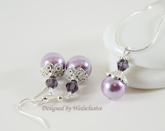 Lavender and Lilac bridesmaid earrings and necklace