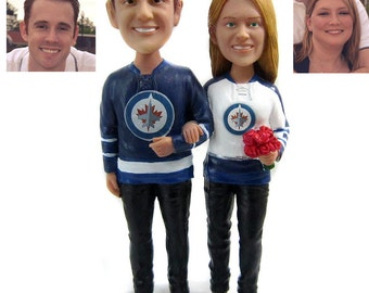 Custom Hockey Wedding Cake Toppers Sculpted to Look Like You - Style 2