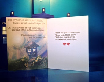 Doctor Who TARDIS Poem Card for Valentines Day/Aniversary/Birthday