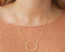 Circle necklace, Gold branch necklace, Karma eternity dainty necklace, Fall jewelry