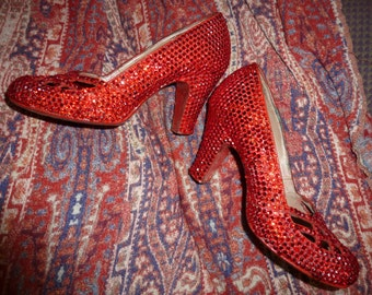 1940's Dorothy Wizard of Oz Swarovski Toto Magic Shoes Rouge