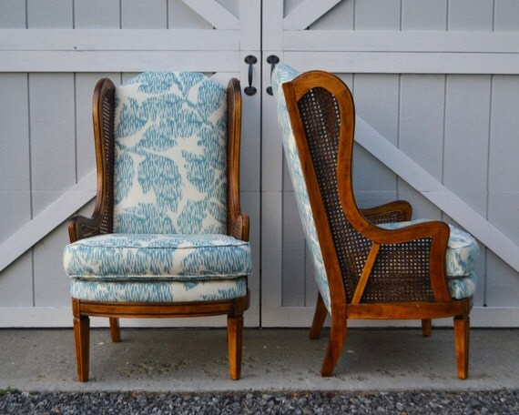 Reserved Wingback Chairs With Caning Reupholstered In Blue